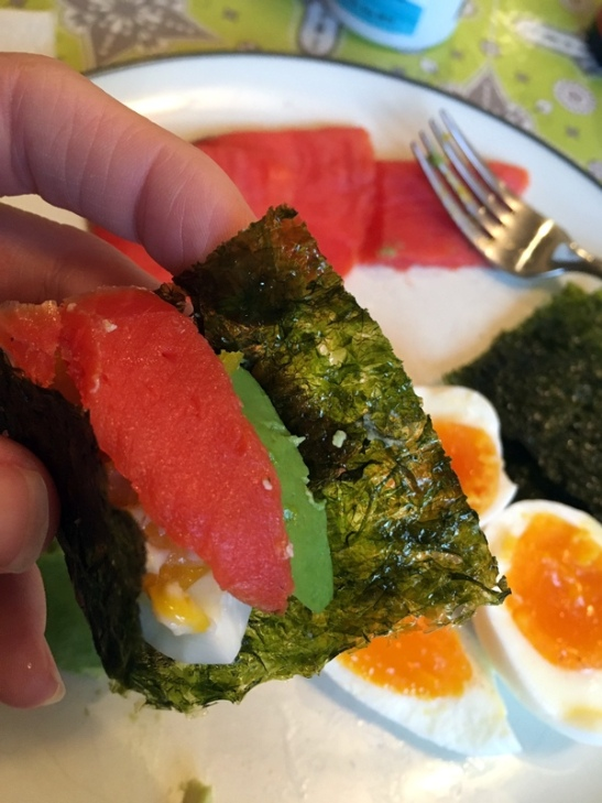 Breakfast Sushi! Smoked salmon, avocado, and egg wrapped up in some seaweed. To dip or not to dip in soy sauce is up to you.